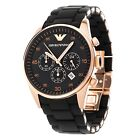 ✅ BRAND NEW MENS EMPORIO ARMANI SPORTS BLACK ROSE GOLD WATCH - AR5905 - RRP $399