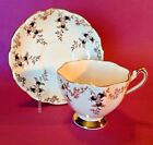Princess Anne Tea Cup And Saucer - White - Gold Leaves - Black Berries - England