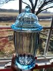 Vintage Blue Indiana Glass County Store Candy Dish With Lid Apothecary Jar