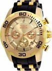 22342 Invicta 50mm Gent's Yellow Steel & Silicone Strap Gold Dial Watch