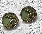 2 Victorian Metal Picture Button - Berries and Leaves, Green Tint