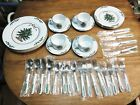 MEIWA China CHRISTMAS RIBBONS 36 Pc Dinnerware Set For 4 including silverware