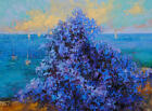 Ocean view with wisteriaOriginal framed oil on paper 11x14 painting