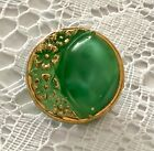 Vintage Green Moonglow Glass Button Flower Design in Crescent Shape Gold Luster
