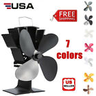 4 Blade Heat Thermal Powered Stove Fan for Wood Log Burner Fireplace Eco Fan