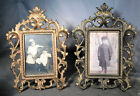 Pair Antique Gilt Bronze cast Iron French Rococo Baroque Picture Frame Easel bac