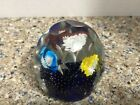 Rare Vintage Bohemian style Cut Faceted Glass Flower small Paperweight Floral