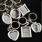 Creative Heart Circle Photo Picture Insert Frame Keyring Keychain DIY Ring Gift