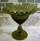 VINTAGE JEANNETTE GLASS DIAMOND POINT FOOTED COMPOTE AVOCADO