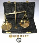 Antique Style 50 Gram Brass Scale with beautiful Velvet box. USA Seller!!