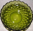 Indiana Glass vintage avacado green quilted diamond scallop rim bowl 7-1/2 inch