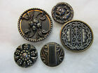 LOT OF 5 ANTIQUE/ VICTORIAN METAL BUTTONS / PERFUME/ CUT STEEL ACCENTS
