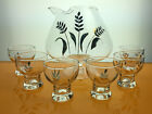 vintage pitcher 6 glasses set gold wheat pattern barware glassware mid century