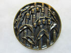 LARGE VICTORIAN METAL PICTURE BUTTON/ LILY OF VALLEY FLOWERS/ BAMBOO STALKS
