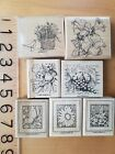 Stampin Up mixed lot rubber stamps butterfly flower bird basket collage