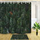 Green Pine Forest Bath Curtain Set Bathroom Watercolor Polyester 71inches