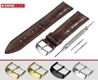 Fits FREDERIQUE CONSTANT Glossy Dark Brown Leather Watch Strap Band For Buckle