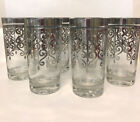 Silver Scroll Highball Coolers Tumblers Drinking Glasses MCM Barware