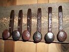 6 Antique Horse Tack Hooks Coat Or Hat Rack Railroad Spikes Stable Barn Hanger