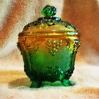 Vintage Glass Pedestal Compote Footed Candy Dish Lid  Blue Green retro