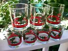 (7) Heavy Libbey Holly/Berries Red/Green RED Band Christmas High Ball Glasses #2
