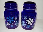 2 Libbey Cobalt Blue Glass Canisters Snowflake Pattern Christmas Jars Lid