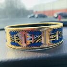 Hermes Enamel Gold Plated Bangle SIZE 65RichRegal Colors Equestrian 3 4 Wide