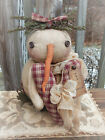 FoLK Art WinTer PRIMITIVE ChrisTmas SNOWMAN ValenTines Day Heart DOLL DecoraTion