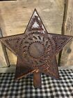 Brand New Primitive Rusty Star Tree Topper Punched Tin