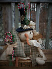 FOLK Art PRIMITIVE CounTry Merry ChrisTmas Tree SNOWMAN DOLL Holiday DecoraTion