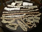 20 PIECES 10 OUNCES VINTAGE ANTIQUE LACE CROCHET EYELET FOR SEWING ETC 13C