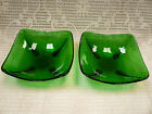 Vtg Pair Dark Emerald Green Berry Bowls Square Tear Drop Footed Clear Perfect
