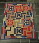 Country Primitive Stitched Star Quilted Throw 46 x 56 Blanket Cover Tablecloth