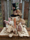 FOLK Art PRIMITIVE CounTry Home VALENTINES SNOWMAN Key Heart DOLL DecoraTion TaG