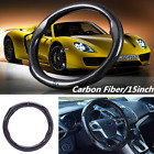 15inch Skidproof Sport Car Steering Wheel Cover Protector Black Carbon Fiber New