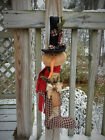 FoLk Art PrimiTive WinTer ChrisTmas StocKing SNOWMAN DOLL SanTa BooT DecoraTion