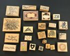 Lot 24 Wood Mounted Rubber Stamps DISNEY WEDDING SEWING FLOWERS BEARS GUC