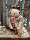 FoLK Art WinTer PRIMITIVE CounTry SNOWMAN ValenTines Day Heart DOLL DecoraTion