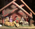 Antique Wood Nativity Manger Stable Creche from Italy With Figures