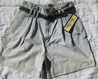 Vtg High Waisted Acid Washed womens JEAN SHORTS Bill Blass 80s NEW old stock 16