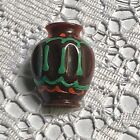 Southwestern Style Brown Vase - Colorfully Painted Plastic Button