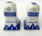 Tienshan RICE FLOWER Salt  Pepper Shakers HTF Blue White