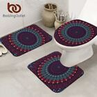 Mandala Bath Mat Absorbent Non-slip Bathroom Mat Set Purple Blue Red Toilet Cove
