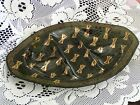 HOUZE Mid Century Relish Dish Serving Tray Smoke Glass Abstract Gold VINTAGE