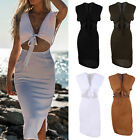 US Womens Bandage Bodycon MIdi Dress Cut Out Casual Beach Party Dresses Sundress