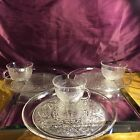 Vintage  Anchor Hocking Sandwich Glass Luncheon Plate and Cup Set