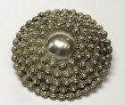 LARGE VINTAGE UNIQUE STERLING SILVER BRAIDED BALL BEAD COMBINATION PIN  PENDANT