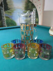 Mid-Century WEST VIRGINIA GLASS  COLOR TUMBLERS GOLD LIONS CREST AND DECANTER