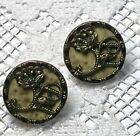 2 Victorian Picture Buttons - Flower Design with Marbeled Celluloid Background