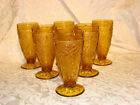 Vintage Tiara Pressed Glass Daisy Footed Ice Tea Glasses Sandwich set of 6